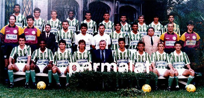 Primeira foto do time do Palmeiras após o acordo com a Parmalat, ainda sem reforços
