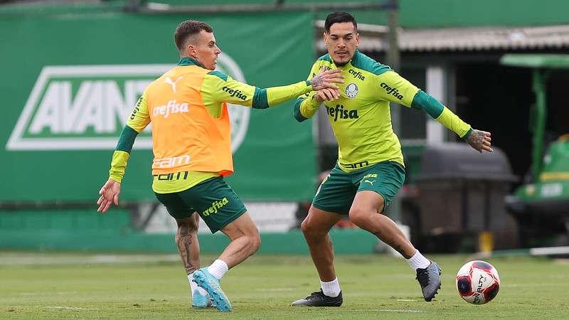 Lucas Lima e Gustavo Gómez treinam na Academia de Futebol do Palmeiras