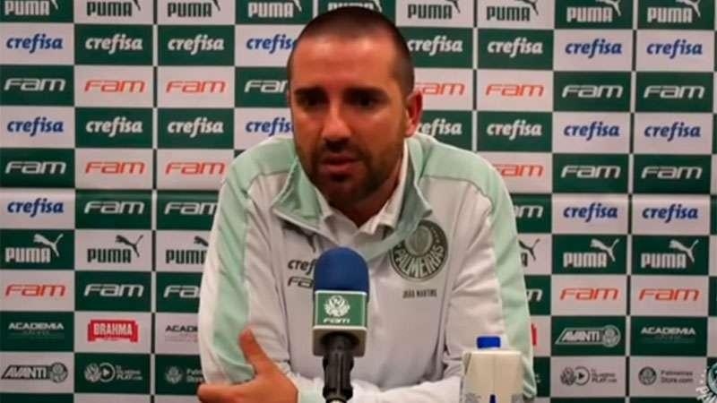 João Martins concede coletiva após a vitória do Palmeiras sobre o SCCP em Itaquera