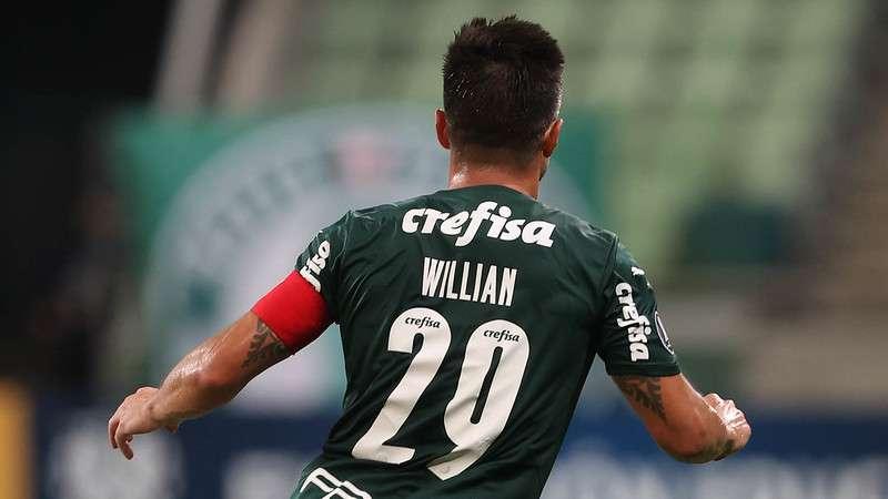 Willian comemora seu gol diante do Defensa Y Justicia pela Libertadores