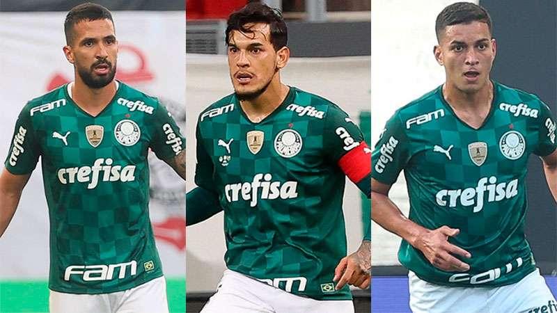 Zaga do Palmeiras formada por Luan, Gustavo Gómez e Renan
