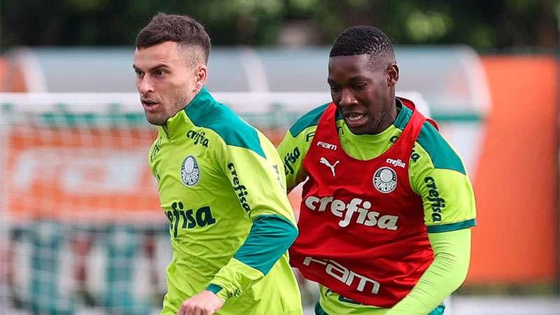 Lucas Lima e Patrick de Paula treinam na Academia de Futebol do Palmeiras