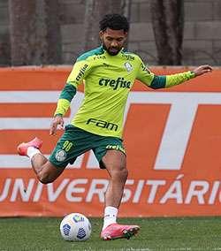 Matheus Fernandes participa de treino na Academia de Futebol do Palmeiras