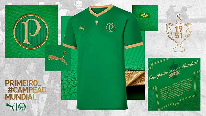 Camisa comemorativa dos 70 anos do Mundial do Palmeiras
