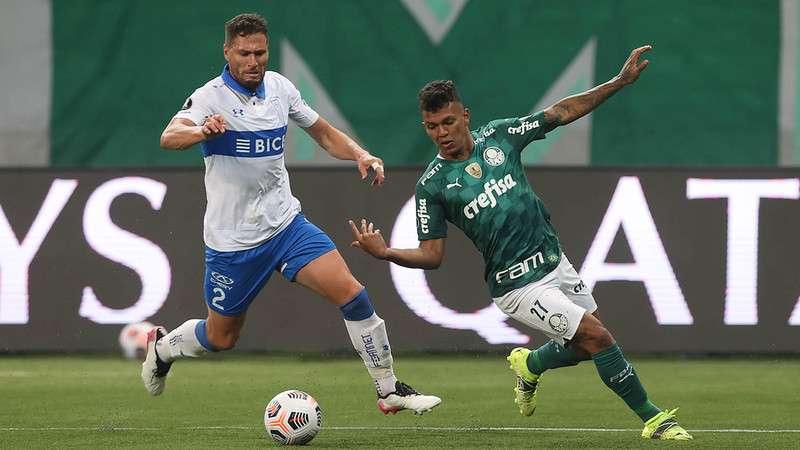 Gabriel Veron, do Palmeiras, em partida contra a Universidad Católica no Allianz Parque