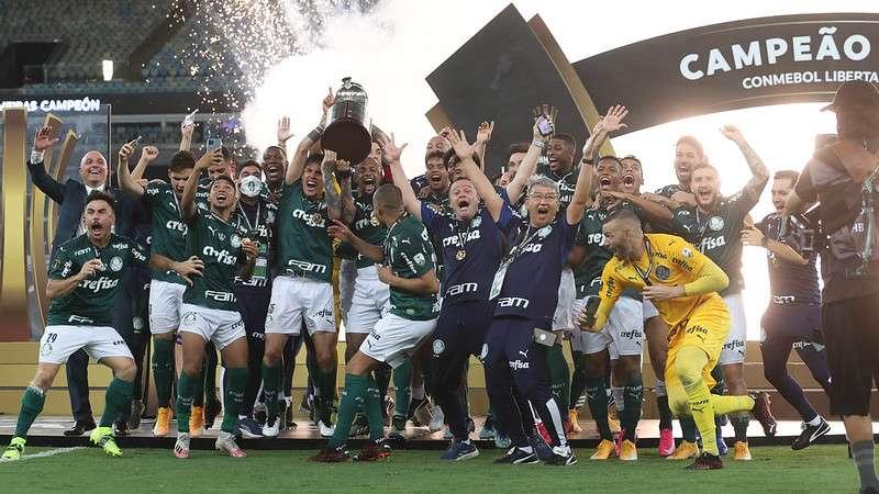SE Palmeiras comemora a conquista da Libertadores 2020, no Estádio do Maracanã.